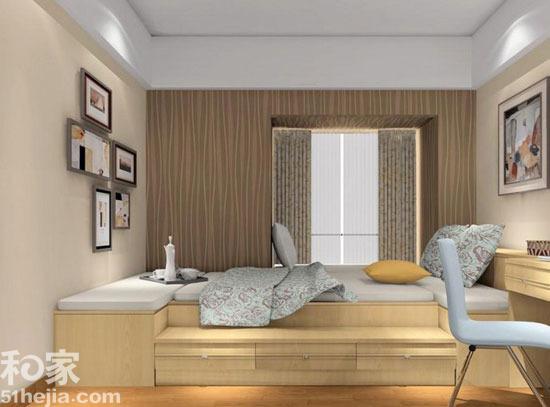 在侧面墙上掏出1㎡的空间设计成飘窗,给平面卧室增加了层次感.图片